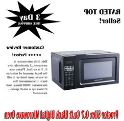 Proctor Silex 0.7 Cu.ft Black Digital Microwave Oven, Small