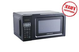0.7 cu ft Small Microwave Oven Black 700 Watt 6 Presets 10 P