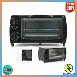 4-Slice Toaster Oven Broil Bake Toast Warm Options with Stay
