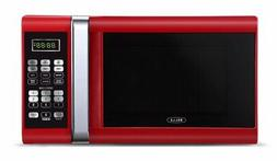 Bella 900-Watt Microwave Oven 0.9 Cubic Feet Red with Chrome