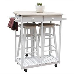 Binlin Dining Cart,Rolling Wood Kitchen Island Storage Troll