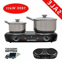 Double Burner Electric Cooking Stove 1800W Portable Cooktop