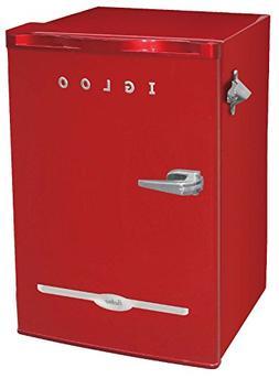 Igloo FR376-RED Retro Bar Fridge with Side Bottle Opener, 3.