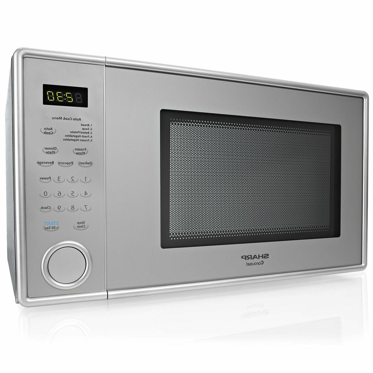 1 1 cf countertop microwave silver while