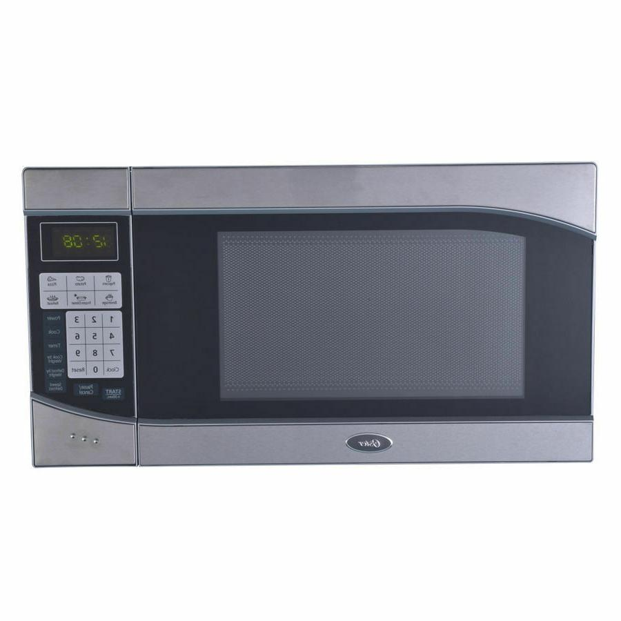 Oster - 0.9 Cu. Ft. Compact Microwave - Stainless-steel/blac