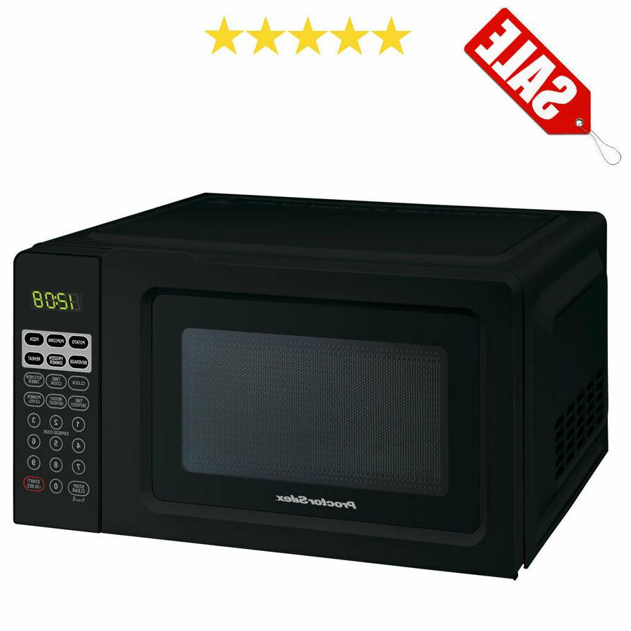 black digital countertop microwave oven dorm room
