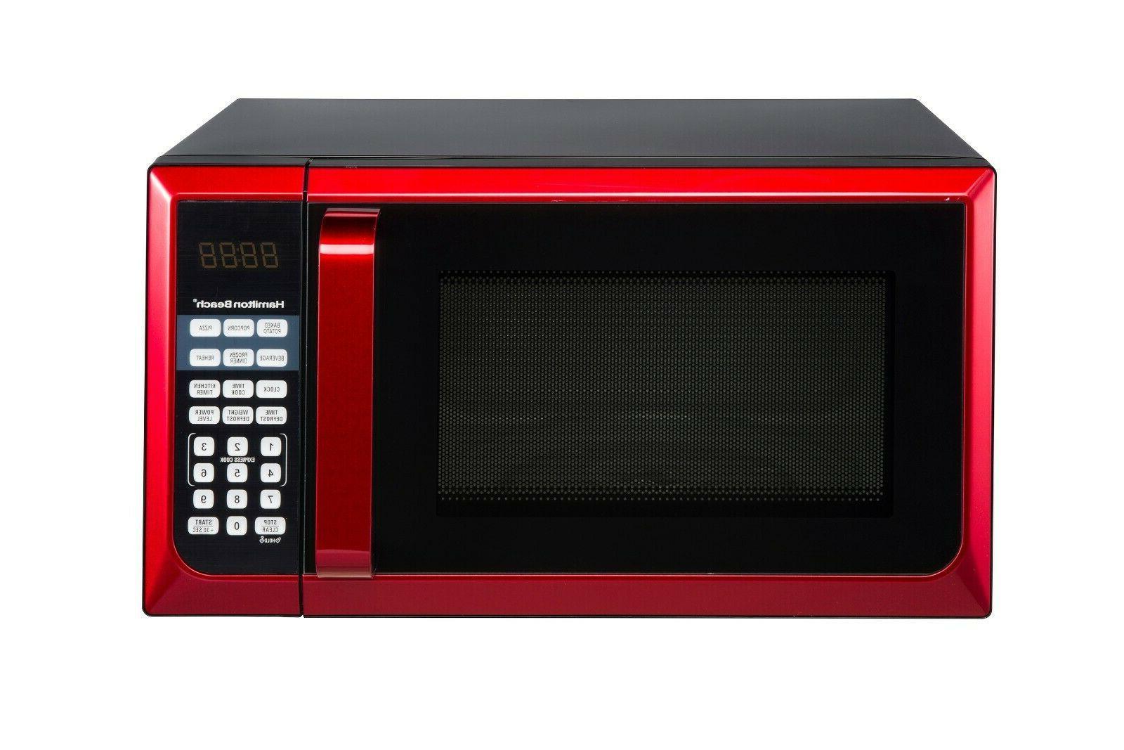 red 900 watt microwave oven 0 9