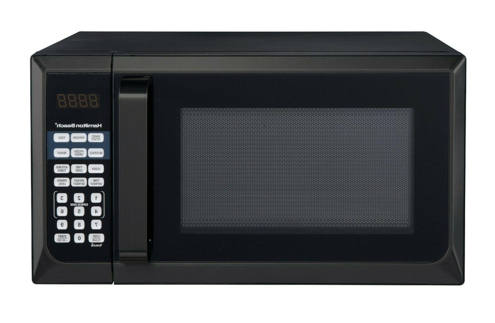 Countertop Microwave Stainless Home Office LED Oven 900W Cu BLACK