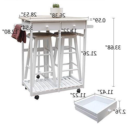 Binlin Dining Wood Kitchen Island Utility w/Storage Drawers/Baskets