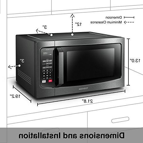 Toshiba Oven with Display Smart 1.6 Cu.ft/1250W, Black Steel