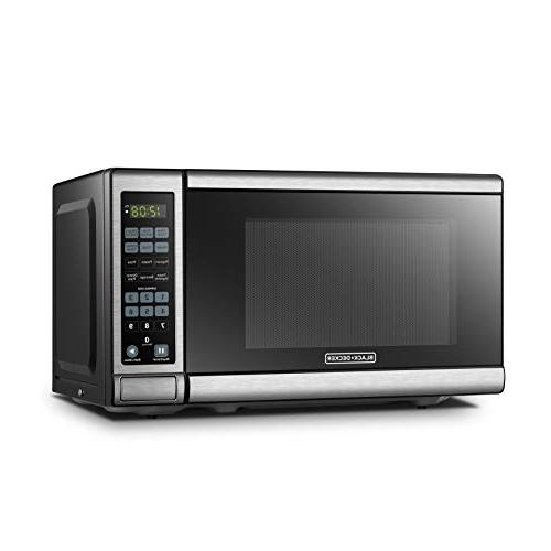 BLACK+DECKER EM720CB7 Digital Microwave Oven Turntable Door,Child Lock,700W, Steel Cu.Ft