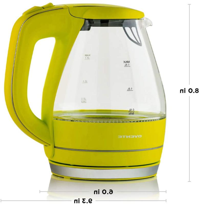 Ovente Glass Cordless Durable Green Electric Kettle