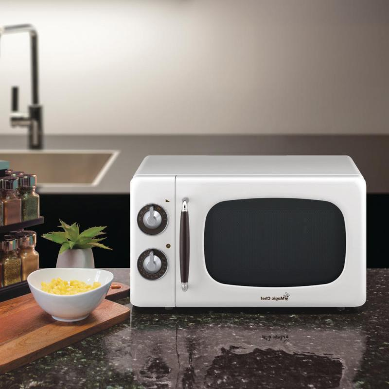 Magic Retro Style 0.7 ft Microwave in White Control
