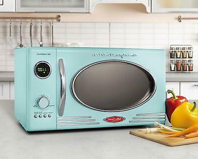 Nostalgia RMO4AQ Retro Large 0.9 cu ft, Countertop Microwave Oven, 12
