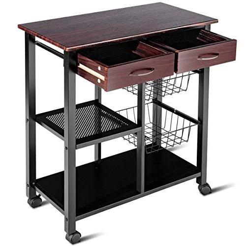 Costzon Kitchen Cart, Solid Countertop Microwave Cart Rack, Trolley 2 2 Baskets, Lockable 360°Casters
