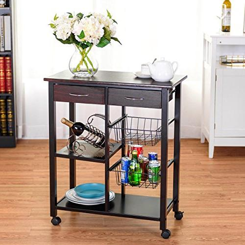 Costzon Rolling Solid Construction, Countertop Table Rack, Storage Trolley 2 Baskets, Lockable 360°Casters