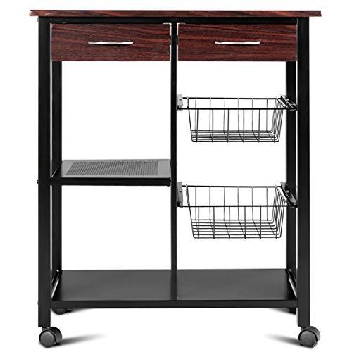 Costzon Rolling Kitchen Cart, Solid Metal Rack, Wooden Dining Trolley w/ 2 Metal Lockable 360°Casters