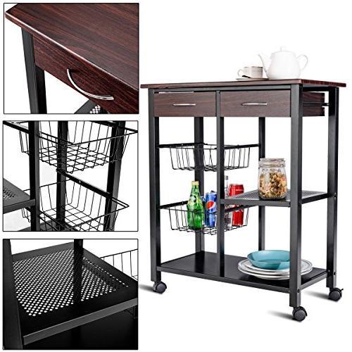 Costzon Cart, Solid Metal Construction, Countertop Microwave Rack, Trolley w/ Drawers, 2 Baskets, Lockable