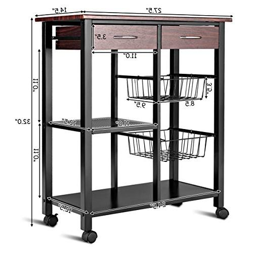 Costzon Solid Metal Construction, Countertop Table Microwave Rack, Dining Storage Trolley 2 Lockable 360°Casters