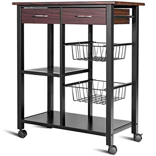 Costzon Solid Countertop Table Microwave Rack, Trolley w/ 2 Drawers, 2 Metal Lockable