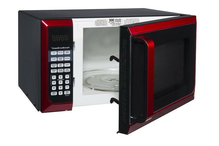 Hamilton Beach 0.9 Cu. Red Microwave Oven