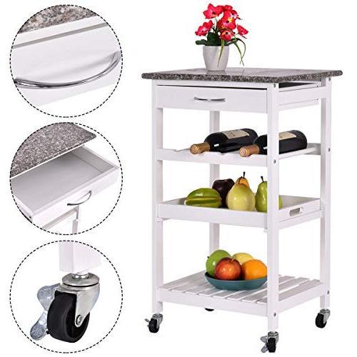 """NanaPluz 29.9"""" White 4-Tier Shelves Countertop Kitchen Island Ebook"""