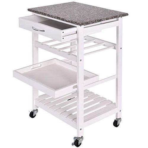 white rolling 4 tier shelves