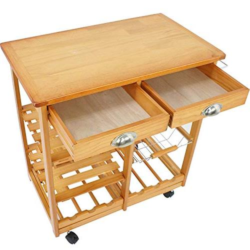 BBBuy Wooden Rolling Storage Trolley Stand Rack w/Drawers