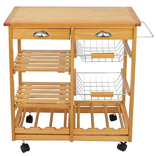 BBBuy Storage Island Cart Dining Trolley Top Table Microwave Rack