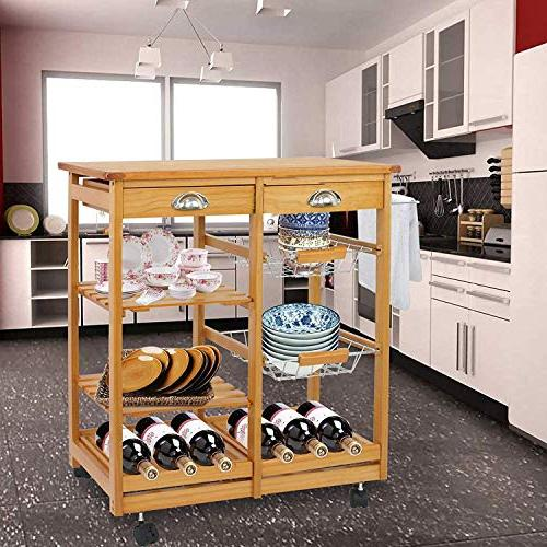 BBBuy Kitchen Storage Dining Trolley Top Table Microwave Cart Rack w/Drawers