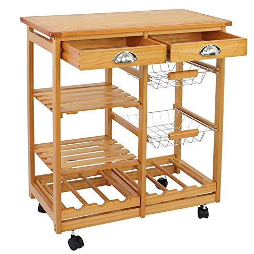 BBBuy Wooden Rolling Trolley Counter Top Microwave Cart Rack