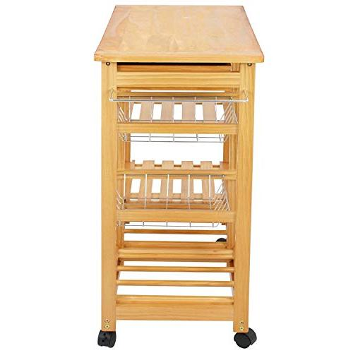 BBBuy Rolling Storage Island Trolley Basket Top Rack