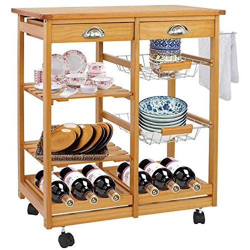 wood kitchen storage island cart