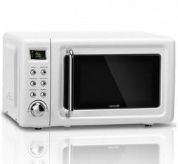 Microwave Oven Steel Glass Turntable Retro Countertop Dorm C