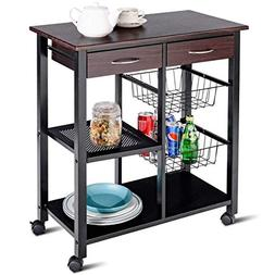 Costzon Rolling Kitchen Cart, Solid Metal Construction, Stan