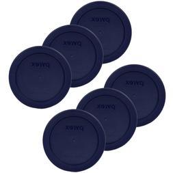 "Pyrex 7200-PC Round 2 Cup 5"" Plastic Storage Lid Blue 6 Pk f"