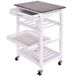 "NanaPluz 29.9"" White Rolling 4-Tier Shelves Wooden Granite C"